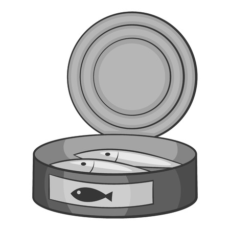 Fish in canned icon. Gray monochrome illustration of fish in canned vector icon for web Illustration