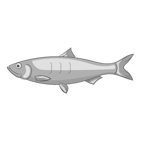 single fin: Fish icon. Gray monochrome illustration of fish vector icon for web