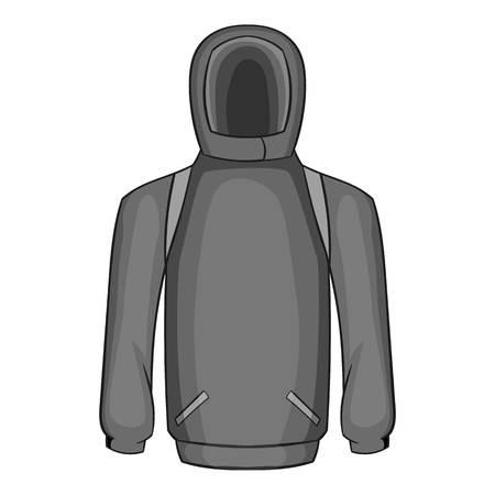 sweatshirt: Hombres sudadera icono de invierno. ilustración en blanco y negro gris de los hombres del invierno sudadera icono vectorial para la web