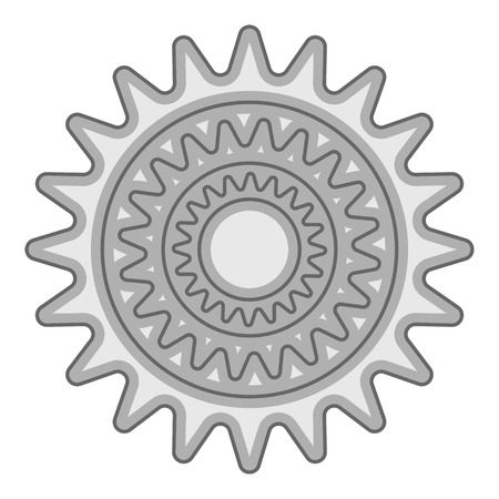 Sprocket for bicycle icon. Gray monochrome illustration of sprocket for bicycle vector icon for web