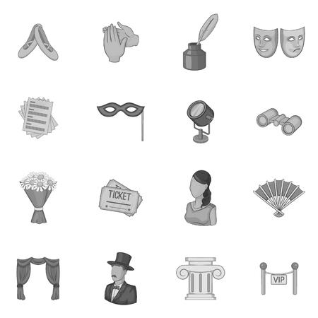 Theatre icons set. Gray monochrome illustration of 16 theatre vector icons for web Illustration
