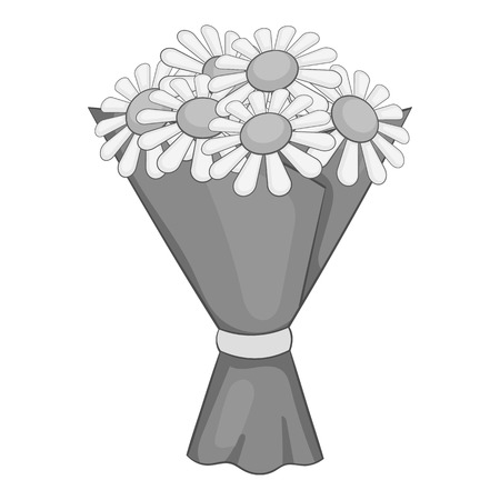 Bouquet of flowers icon. Gray monochrome illustration of bouquet of flowers vector icon for web