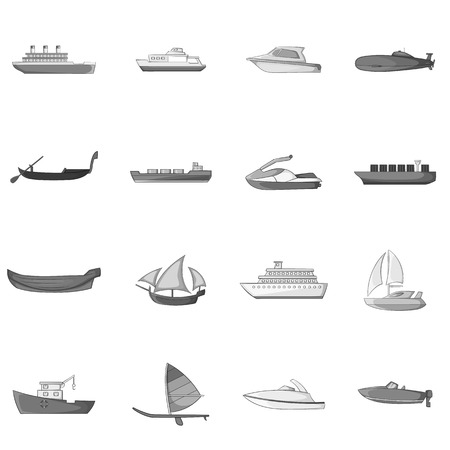 hovercraft: Ship and boat icons set. Gray monochrome illustration of 16 ship and boat vector icons for web