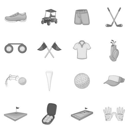 caddy: Golf icons set. Gray monochrome illustration of 16 golf vector icons for web Illustration