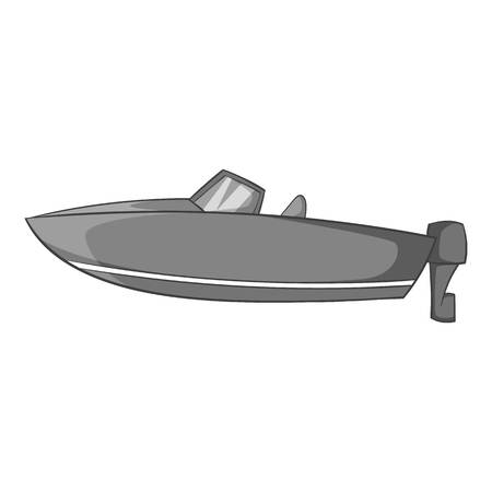 motor boat: Motor boat icon. Gray monochrome illustration of motor boat vector icon for web
