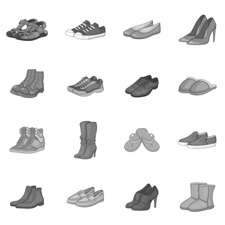 oxford: Shoe icons set. Gray monochrome illustration of 16 shoe vector icons for web Illustration