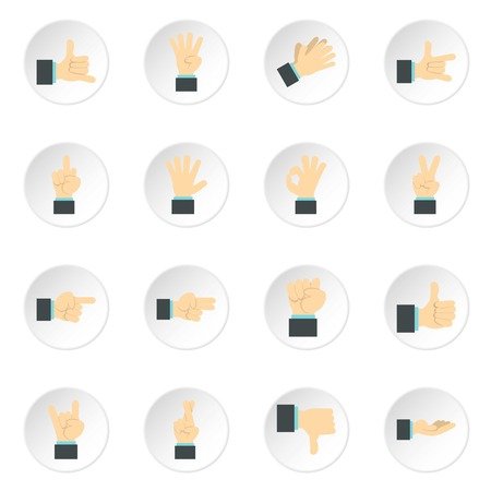 Hand gesture icons set. Flat illustration of 16 hand gesture vector icons for web