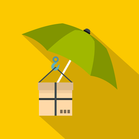 gift accident: Green umbrella and a cardboard box icon. Flat illustration of umbrella and a cardboard box vector icon for web isolated on yellow background Illustration