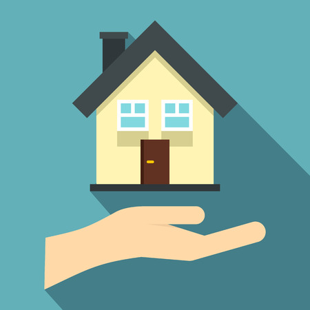 hand holding house: Hand holding house icon. Flat illustration of hand holding house vector icon for web isolated on light blue background