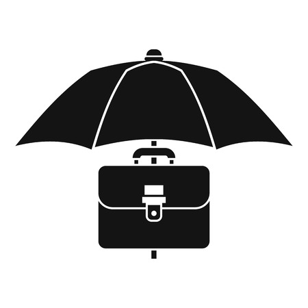 business case: Umbrella and business case icon. Simple illustration of umbrella and business case vector icon for web