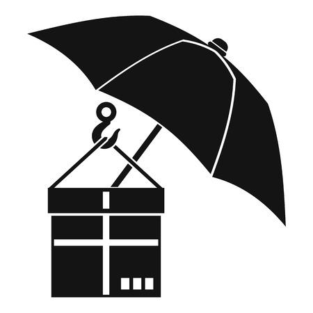 gift accident: Umbrella and a cardboard box icon. Simple illustration of umbrella and a cardboard box vector icon for web Illustration