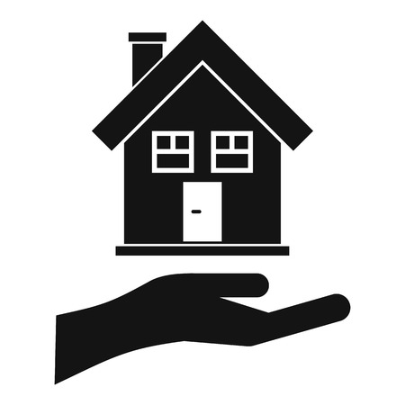 hand holding house: Hand holding house icon. Simple illustration of hand holding house vector icon for web