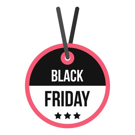 Black Friday sale tag icon. Flat illustration of Black Friday sale vector icon for web design