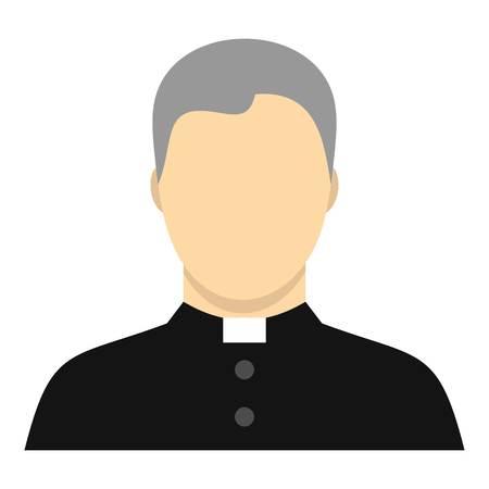 Icona cattolica. Illustrazione piatta dell'icona vettoriale del sacerdote cattolico per il web design
