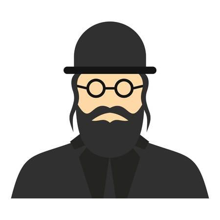 hasidism: Jewish rabbi icon. Flat illustration of rabbi vector icon for web design