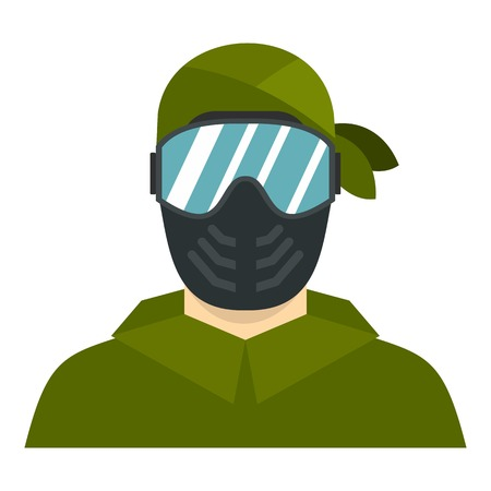 sniper: Paintball player icon. Flat illustration of paintball player vector icon for web design