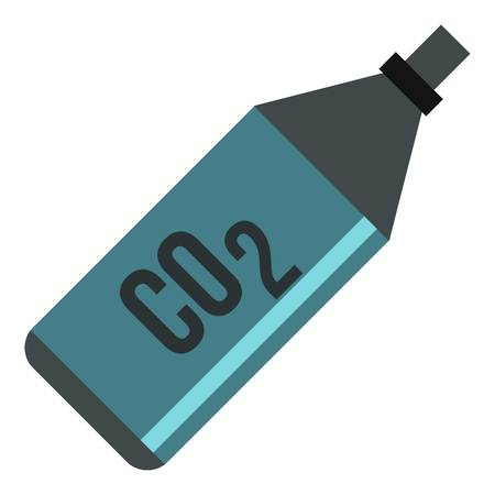 explosive gas: CO2 bottle icon. Flat illustration of CO2 bottle vector icon for web design