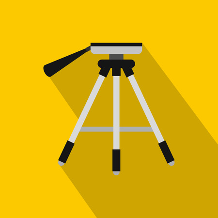 Tripod icon. Flat illustration of tripod vector icon for web isolated on yellow background Illustration