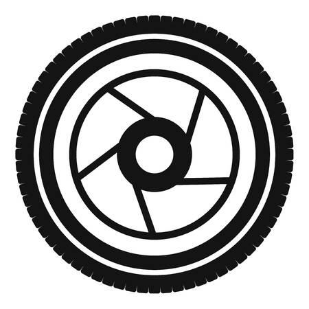 Camera aperture icon. Simple illustration of camera aperture vector icon for web Illustration