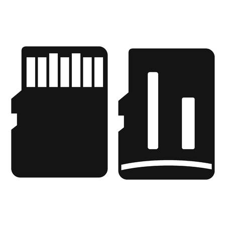 gigabyte: Both sides of SD memory card icon. Simple illustration of SD memory card vector icon for web