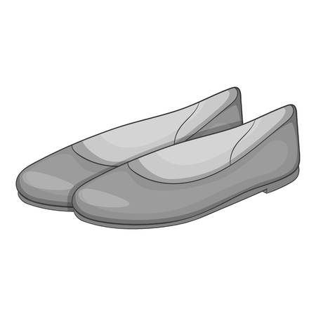 flat shoes: Women flat shoes icon. Gray monochrome illustration of women flat shoes vector icon for web Illustration