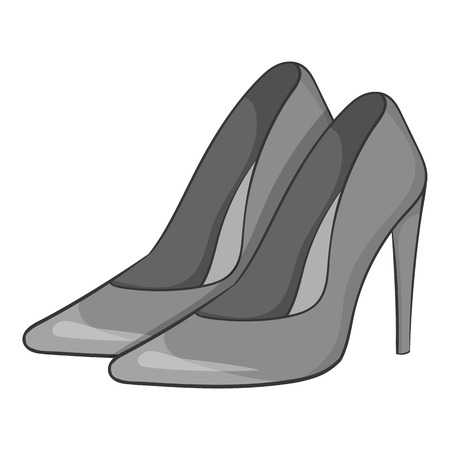 high heeled shoes: Women high heeled shoes icon. Gray monochrome illustration of women high heeled shoes vector icon for web Illustration