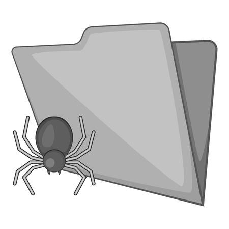 office theft: Spider virus in folder icon. Gray monochrome illustration of spider virus in folder vector icon for web