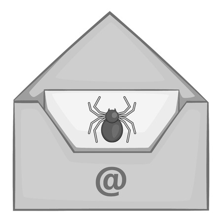 office theft: Virus in e-mail icon. Gray monochrome illustration of virus in e-mail vector icon for web