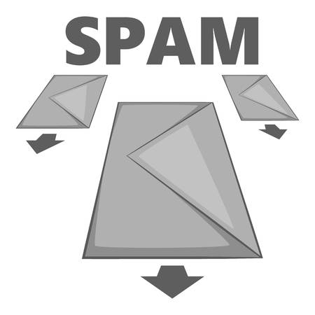 office theft: Spam e-mails icon. Gray monochrome illustration of spam e-mails vector icon for web Illustration