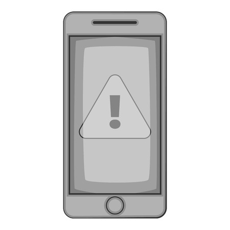 contagious: Warning on mobile phone icon. Gray monochrome illustration of warning on mobile phone vector icon for web