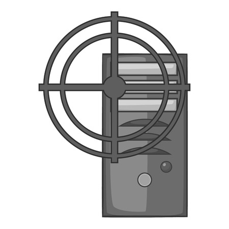 office theft: Sight on system unit icon. Gray monochrome illustration of sight on system unit vector icon for web