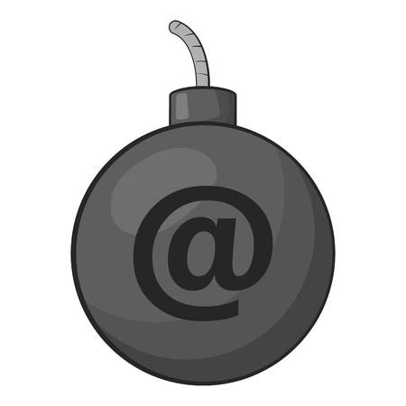 office theft: Bomb in e-mail icon. Gray monochrome illustration of bomb in e-mail vector icon for web Illustration