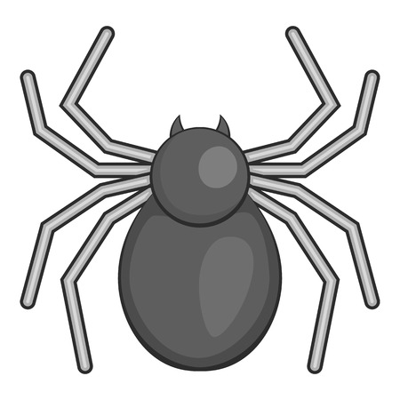Spider icon. Gray monochrome illustration of spider vector icon for web Illustration