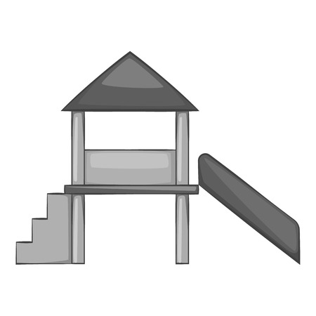 kiddies: Slide house icon. Gray monochrome illustration of slide house vector icon for web