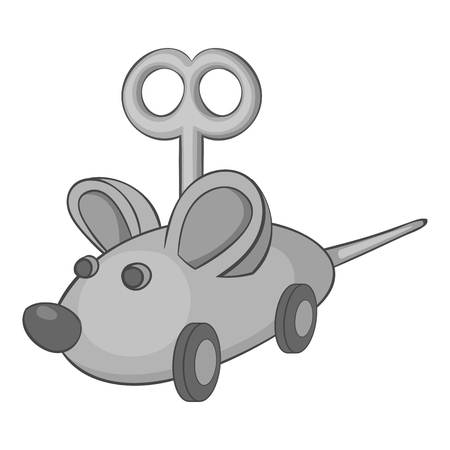 jest: Clockwork mouse icon. Gray monochrome illustration of clockwork mouse vector icon for web