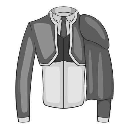 toreador: Costume of toreador icon. Gray monochrome illustration of costume of toreador vector icon for web