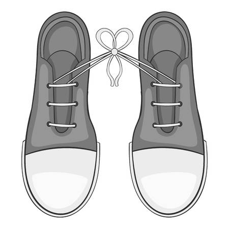 Tied laces on shoes icon. Gray monochrome illustration of tied laces on shoes vector icon for web