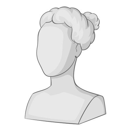Kobieca statua głowa ikona. Szara monochromatyczna ilustracja żeńska statua głowy wektorowa ikona dla sieci