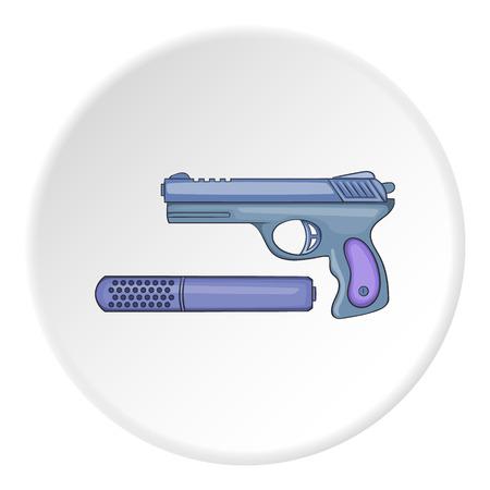 silencer: Pistol with a silencer icon. Cartoon illustration of pistol with a silencer vector icon for web