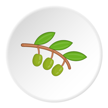 mediterranean diet: Sprig of olive icon. Cartoon illustration of sprig of olive vector icon for web