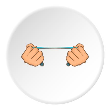 Las manos se extienden icono de expansión. Ilustración de dibujos animados de manos estirar expansor de iconos de vectores para la web