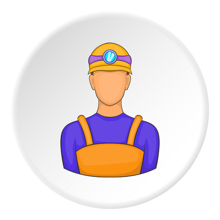 Male miner icon. Cartoon illustration of male miner vector icon for web