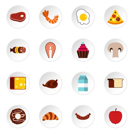 tetra: Food icons set. Flat illustration of 16 food vector icons for web