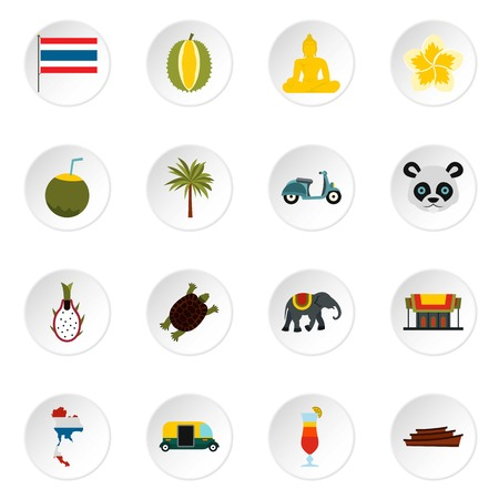 Thailand icons set. Flat illustration of 16 thailand vector icons for web