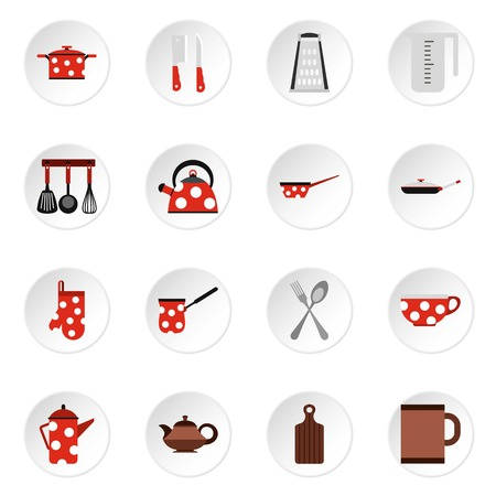 kitchen utensil: Kitchen utensil icons set. Flat illustration of 16 kitchen utensil vector icons for web Illustration