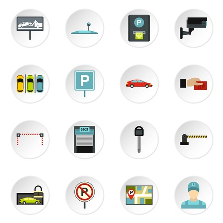 operated: Parking icons set. Flat illustration of 16 parking vector icons for web Illustration