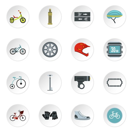 biking glove: Bicycling icons set. Flat illustration of 16 bicycling vector icons for web