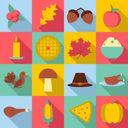 mountain cranberry: Thanksgiving Day Autumn icons set. Flat illustration of 16 Thanksgiving Day autumn vector icons for web