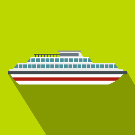Cruise ship icon. Flat illustration of ship vector icon for web design Illustration