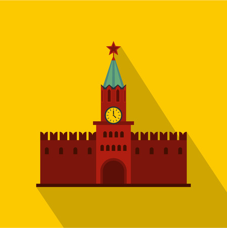red square moscow: Spasskaya Tower of Moscow Kremlin icon. Flat illustration of Moscow Kremlin vector icon for web design